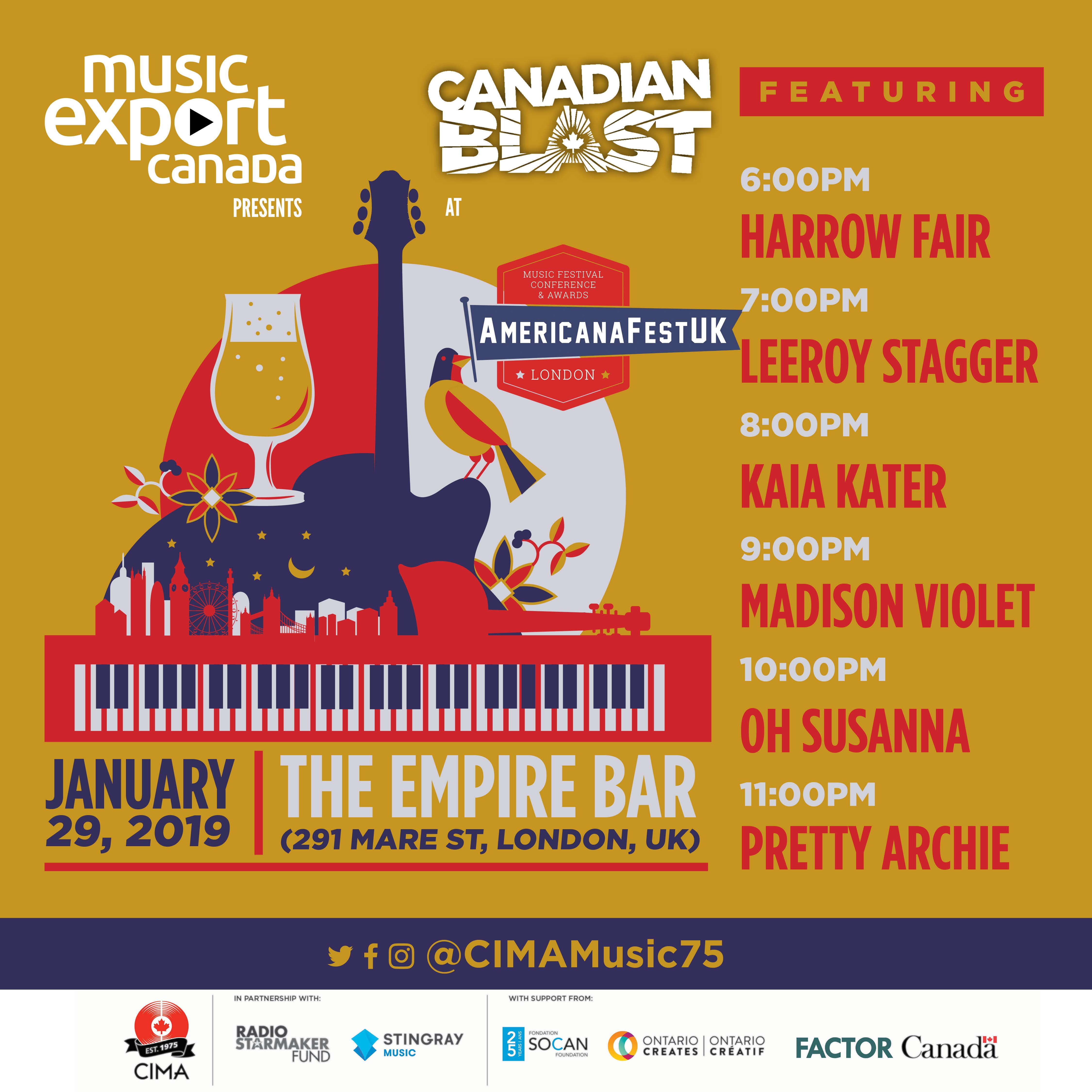 Music Export Canada Presents Americanafest Uk In January 2019