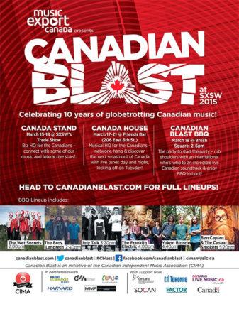 Canadian Blast SXSW 2015 poster