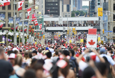 Thousands of people fill the streets of downtown Ottawa during Canada Day on Friday, July 1, 2016.